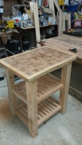Oak-topped, latch-legged butchers block